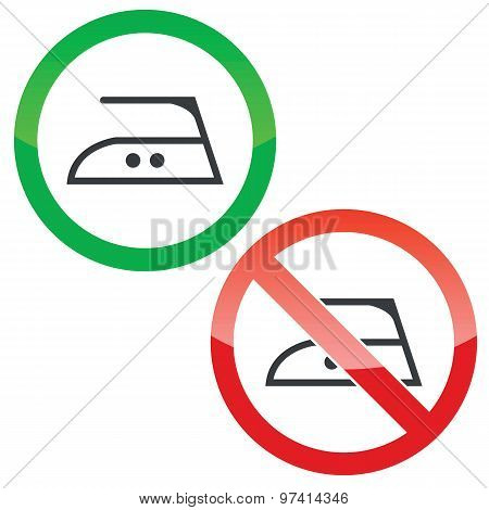Middle ironing permission signs set