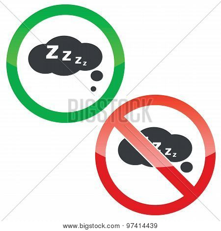 Sleeping thought permission signs set