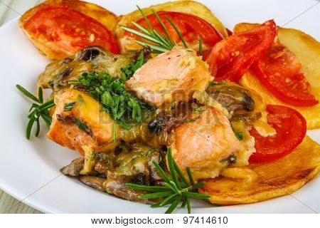 Salmon With Grilled Vegetables