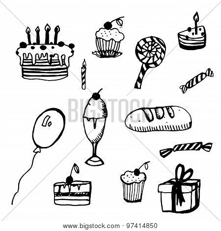 collection of sketches birthday vector illustration
