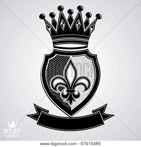 Imperial insignia, vector royal shield with decorative band and monarch coronet. Detailed eps8