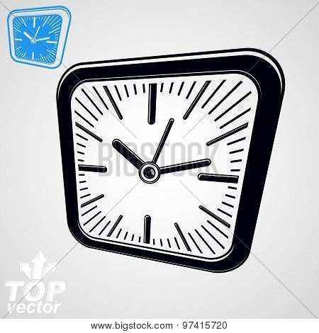 3d vector square wall clock with black dial, simple version included. Time idea conceptual sign