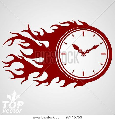 Time runs fast concept, vector timer with burning flame. Eps 8 highly detailed vector illustration.