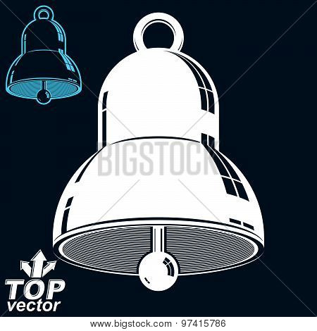 Vector 3d festive bell, invert version included. Eps 8 high quality vector illustration. Ring smooth