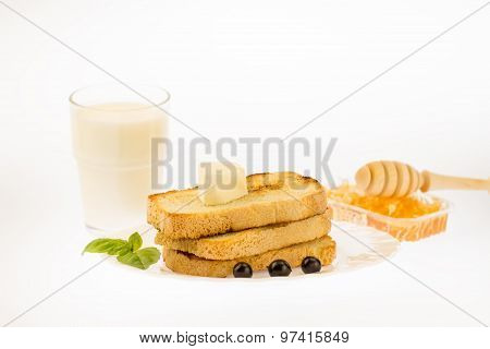 Fresh French Toast With Butter On A White Plate With Berries On A White Background. Healthy Diet