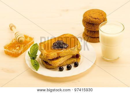 Fresh French Toast With Honey And Jam On A White Plate With Berries. Healthy Diet