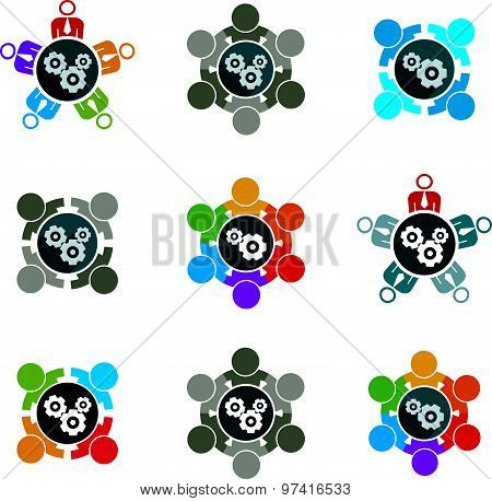 Vector  illustrations of gears, enterprise system theme, business strategy concept. Cog-wheels