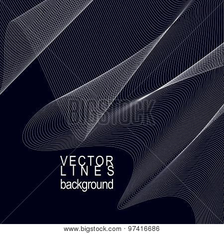 3d motif elegant flowing curves, lace background in motion, dark eps8 design backdrop with parallel