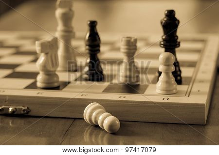 Chess Set And Chess Pawn On Wooden Table, Game And Strategy Concept.