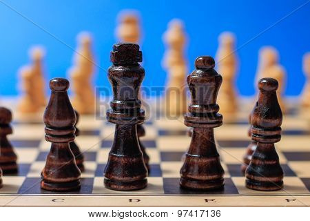 Wooden Chess Pieces Ready To Fight.