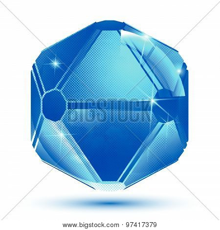 Textured abstract 3d spherical object, sparkling pixilated spatial element isolated on white backgro