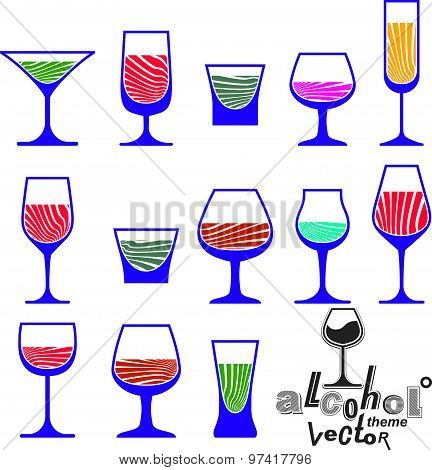 Vector glasses collection, martini, wineglass, cognac, whiskey and champagne. Celebration idea eps8