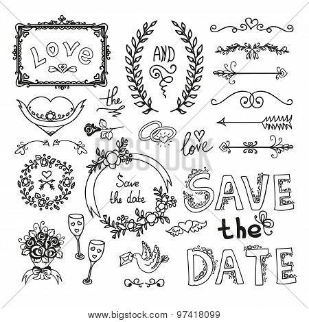 Set Of Wedding Decorative Elements