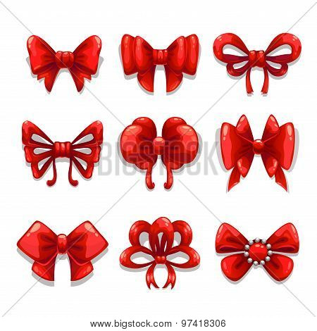 Cute red satin bows set, vector isolated elements