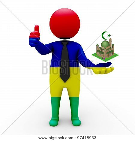 3d businessman people Mauritius - Muslim mosque and Islam in Mauritius