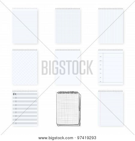 Vector Notebook Notepad Set. Include realistic, hand drawn, musi