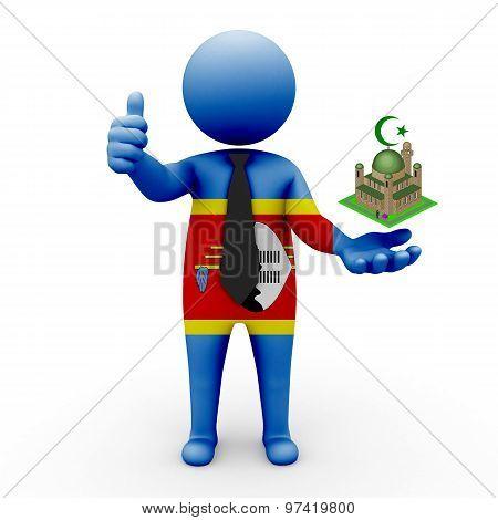 3d businessman people Aruba - Muslim mosque and Islam in Swaziland