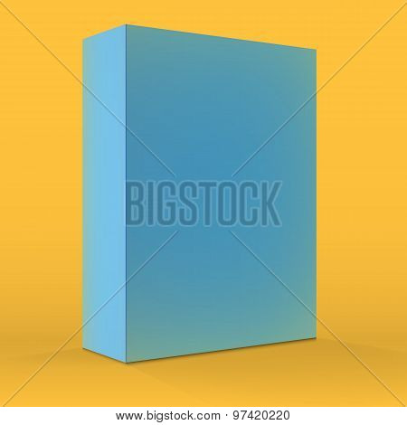 Realistic Vector Blank Blue Packaging Box Template for cellphone