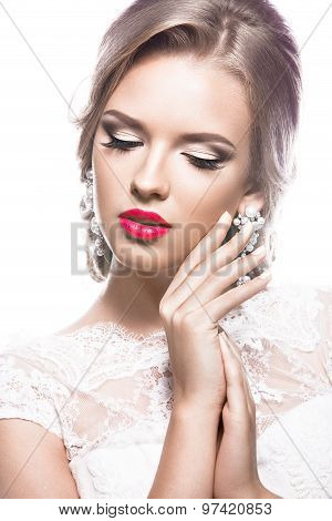 Beautiful woman in  wedding dress,  image of the bride. Beauty face.