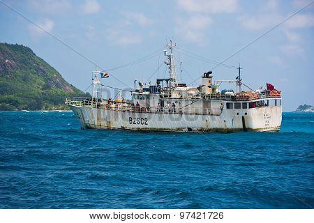 Cargo Ship Sailing In The Indian Ocean