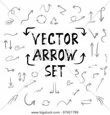 Handdrown Vector Handmade Arrow Huge Isolated Set. Watercolor In