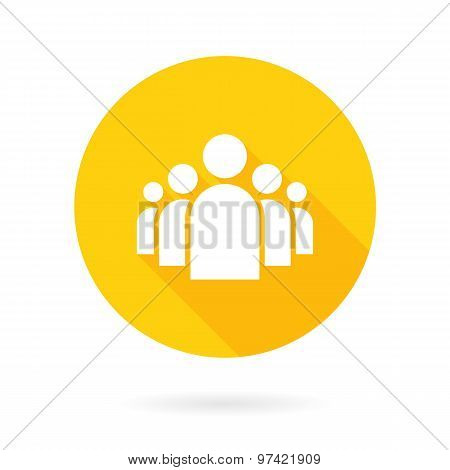 Flat Group of People Icon Vector Symbol Background