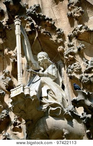 Architectural Details Of Sagrada Familia. Barcelona, Catalonia, Spain