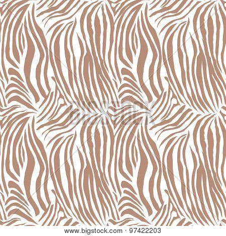 Brown striped zebra animal seamless vector print