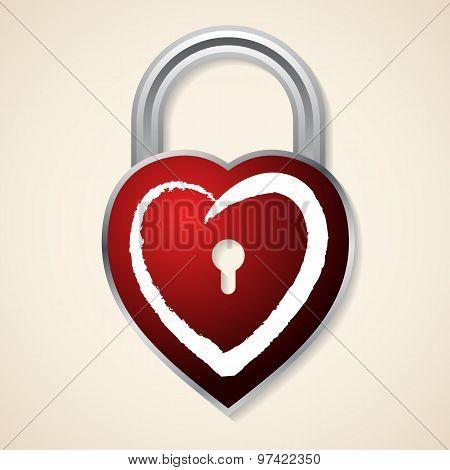 Red Heart Shaped Padlock