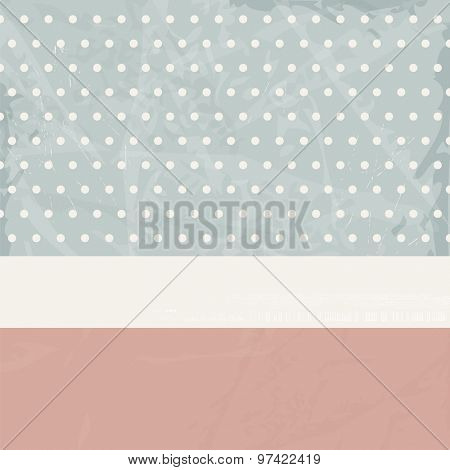 Retro background with polka dots and banner in soft colors - vintage invitation card design 50s style