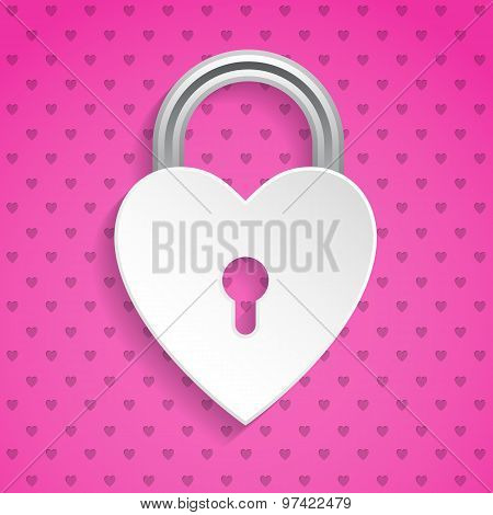 Cool Valentine Background With Heart Padlock