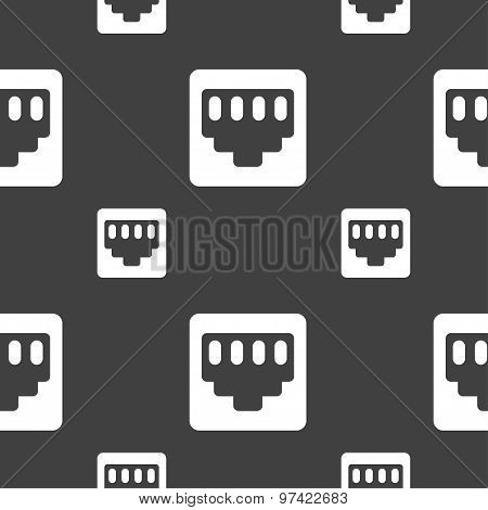 Cable Rj45, Patch Cord Icon Sign. Seamless Pattern On A Gray Background. Vector