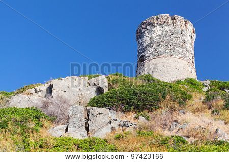 Ancient Genoese Tower Near Ajaccio, Corsica