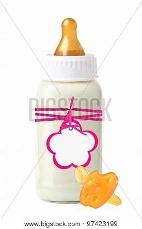 Baby Milk Bottle With Pink Tag And Dummy Isolated On White