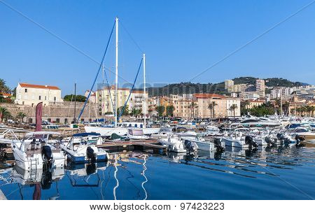 Moored Yachts And Pleasure Boats In Port