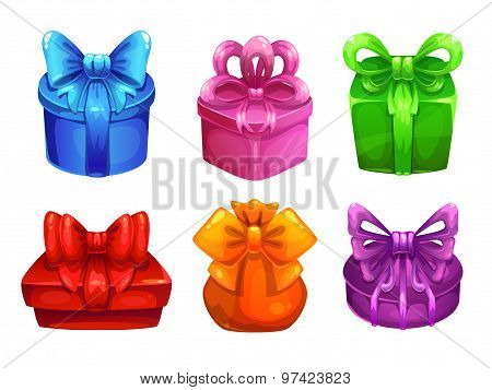 Vector colorful gift boxes with big bows