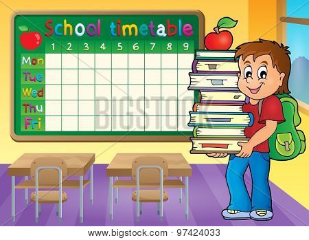School timetable with boy holding books - eps10 vector illustration.