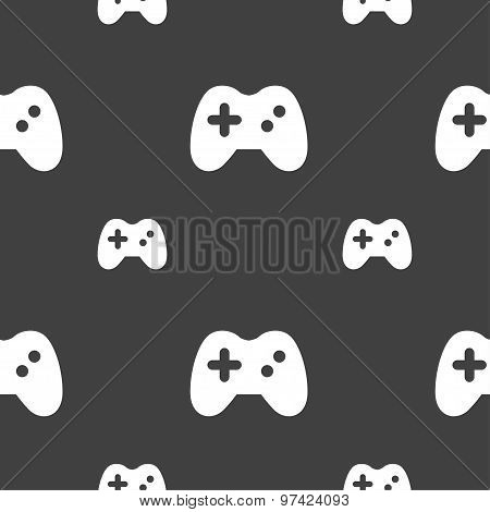 Joystick Icon Sign. Seamless Pattern On A Gray Background. Vector