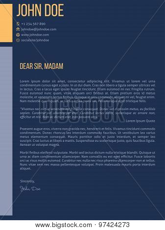 Simplistic Cover Letter Cv Resume Template Design In Dark Blue