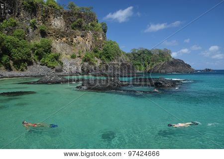 Diving in a crystalline sea beach in Fernando de Noronha,Brazil