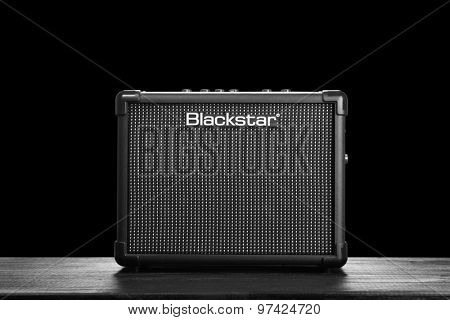 WROCLAW,POLAND - JUL 29, 2015: Blackstar Core ID 10 guitar amplifier. Blackstar Amplification is a UK-based manufacturer of guitar amplifiers and effects.