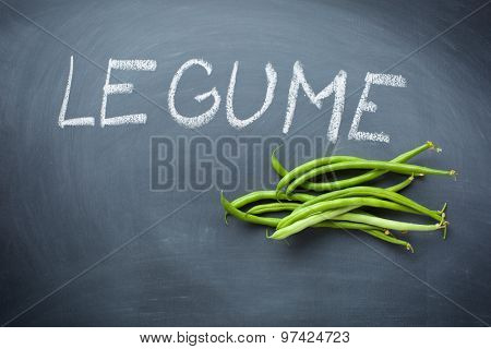 the green beans on blackboard