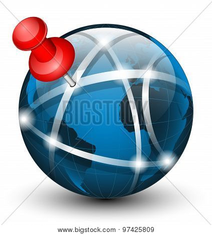Global Communication Icon With Pointer. Vector Illustration