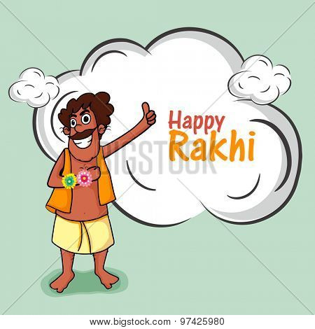 Illustration of a funny man showing his rakhi on occasion of Indian festival, Happy Raksha Bandhan celebration.