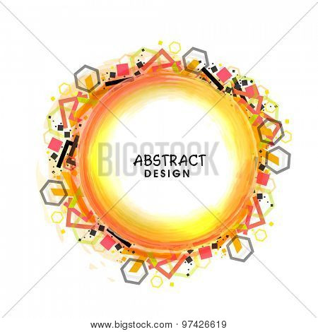 Shiny abstract design frame with geometrical shapes on white background.