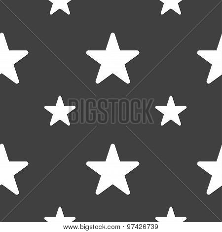 Favorite Star Icon Sign. Seamless Pattern On A Gray Background. Vector