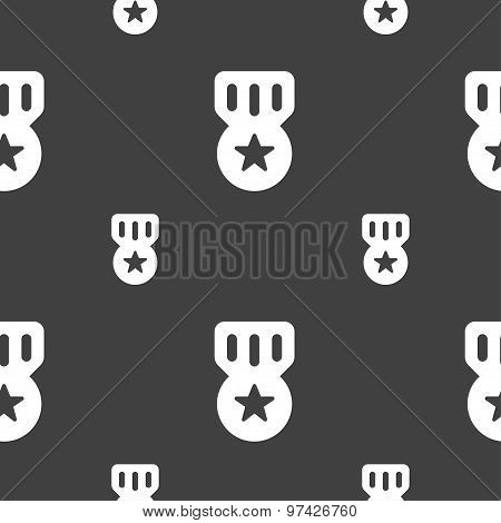 Award, Medal Of Honor Icon Sign. Seamless Pattern On A Gray Background. Vector