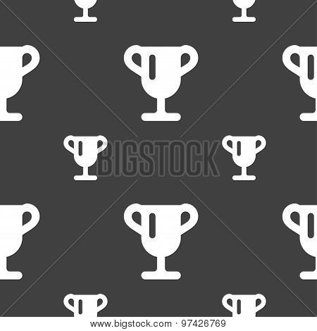 Winner Cup, Awarding Of Winners, Trophy Icon Sign. Seamless Pattern On A Gray Background. Vector