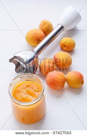 Fresh Apricots And Apricot Puree Maded By Blender