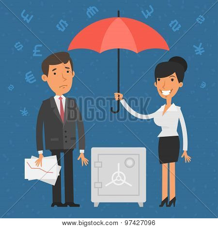 Businessman and businesswoman holding umbrella